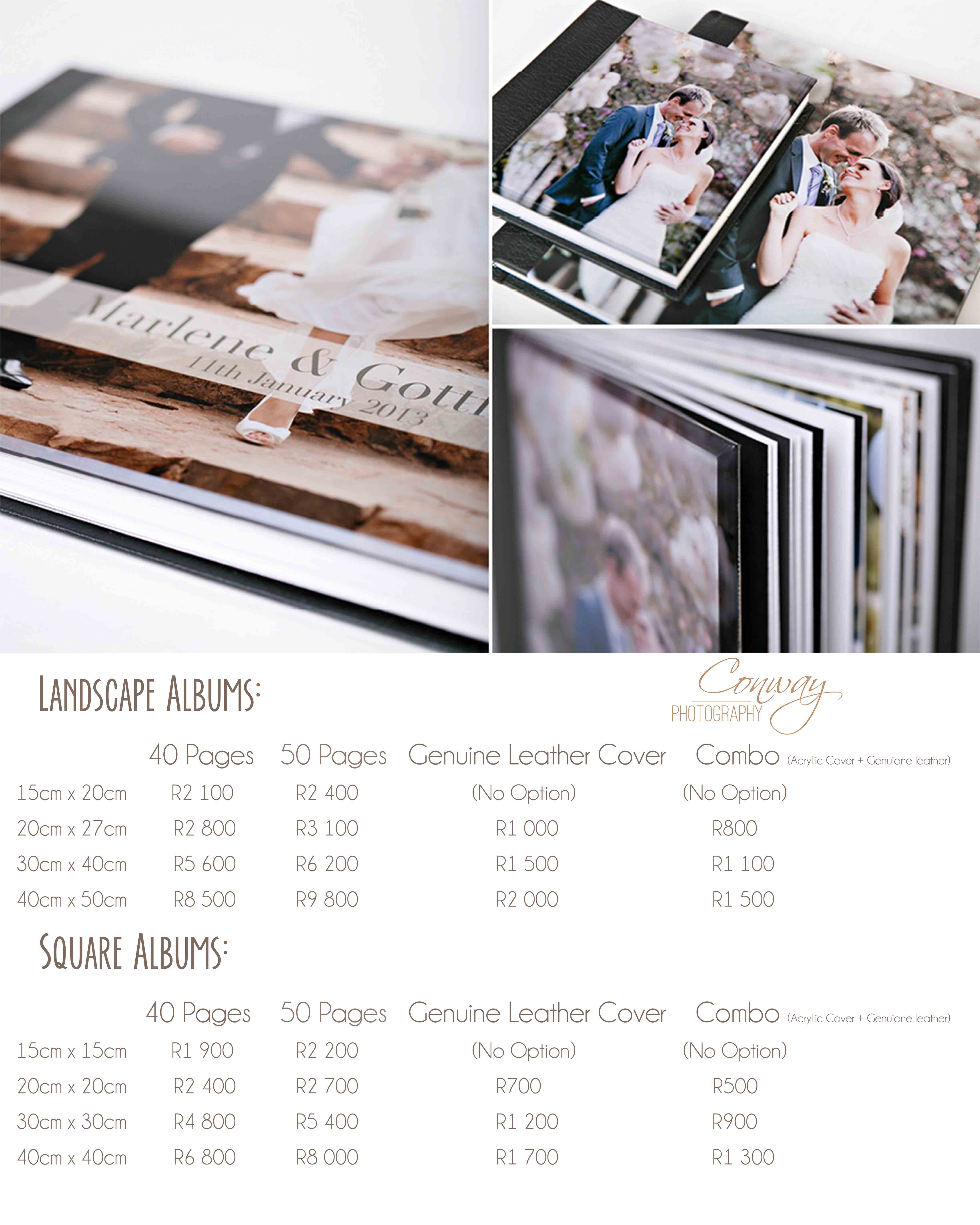 coffee table album pricelist 2017 – Conway graphy